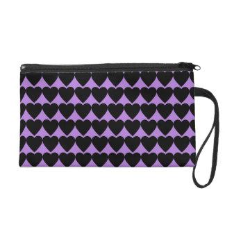 Black Hearts on Lavender Purple Wristlet