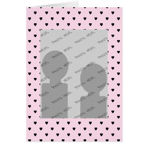 Black Hearts on Pretty Pink. Greeting Card