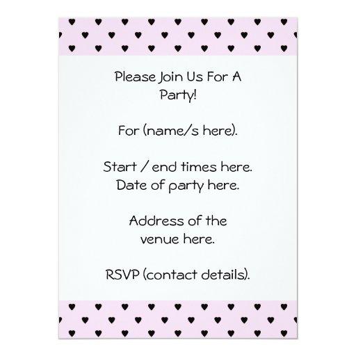 Black Hearts on Pretty Pink. Invitation