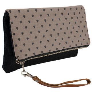 Black Hearts on Taupe Brown Clutch