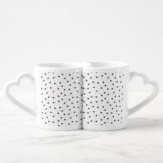 Black Hearts Pattern Red Accent Coffee Mug Set