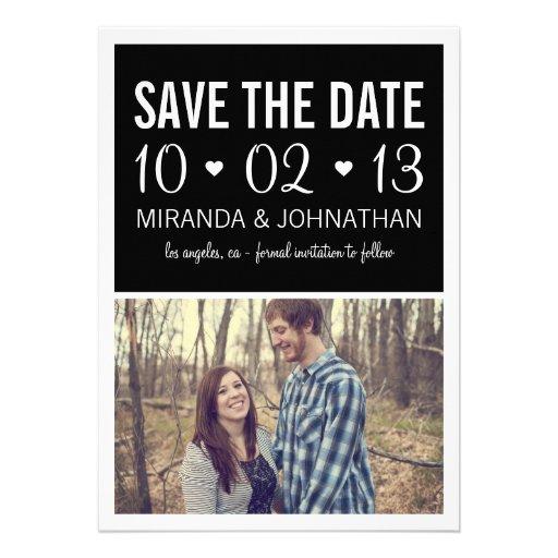 Black Hearts Photo Strip Save The Date Invites