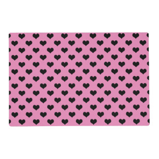 Black Hearts Pink Background Polka Dot Heart Placemat