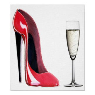 Black Heel Red Stiletto Shoe and Champagne Print