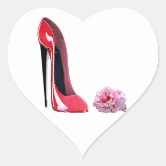 Black heel red stiletto shoe and rose heart sticker