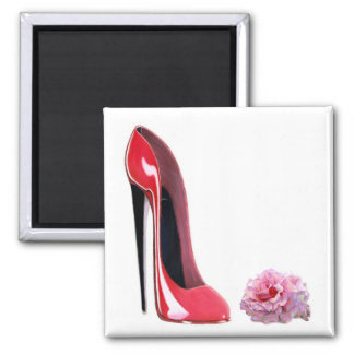 Black heel red stiletto shoe and rose magnets