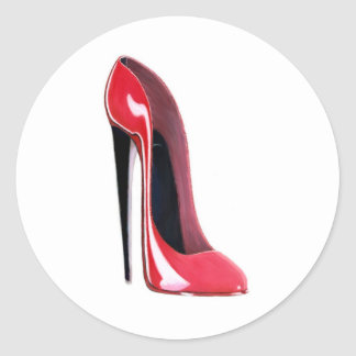 Black heel, red stiletto shoe classic round sticker