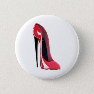 Black heel, red stiletto shoe pinback button