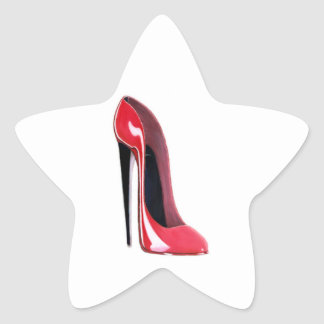 Black Heel Red Stiletto Shoe Star Sticker
