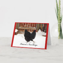 Black Hen In the Snow Christmas Greeting Cards