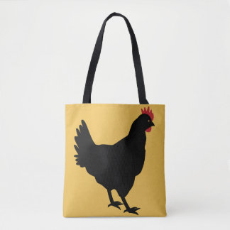 Black Hen on a Mustard Background Tote Bag