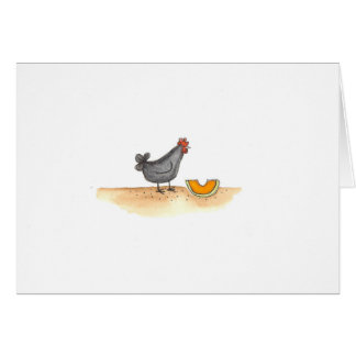 Black Hen With Cantaloupe Card