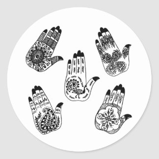 Black Henna Tattoo Hands Classic Round Sticker