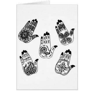 Black Henna Tattoo Hands Greeting Cards