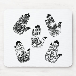 Black Henna Tattoo Hands Mouse Pad