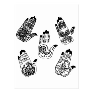Black Henna Tattoo Hands Post Cards