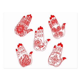 Black Henna Tattoo Hands Postcard