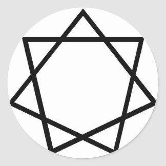 Black Heptagram Classic Round Sticker