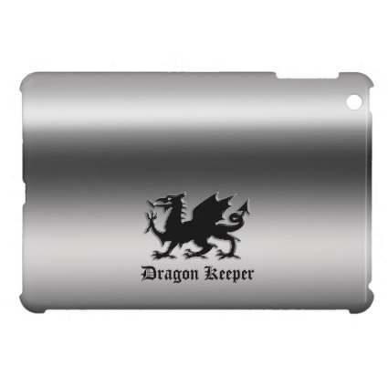 Black Heraldic Dragon on polished metal-effect iPad Mini Cases