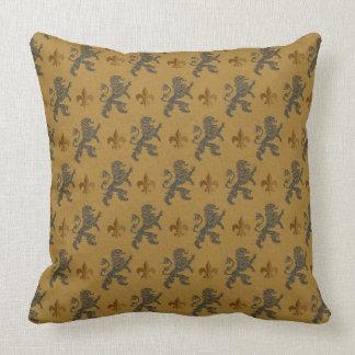 Black Heraldic Lions  Fleurs Throw Pillow