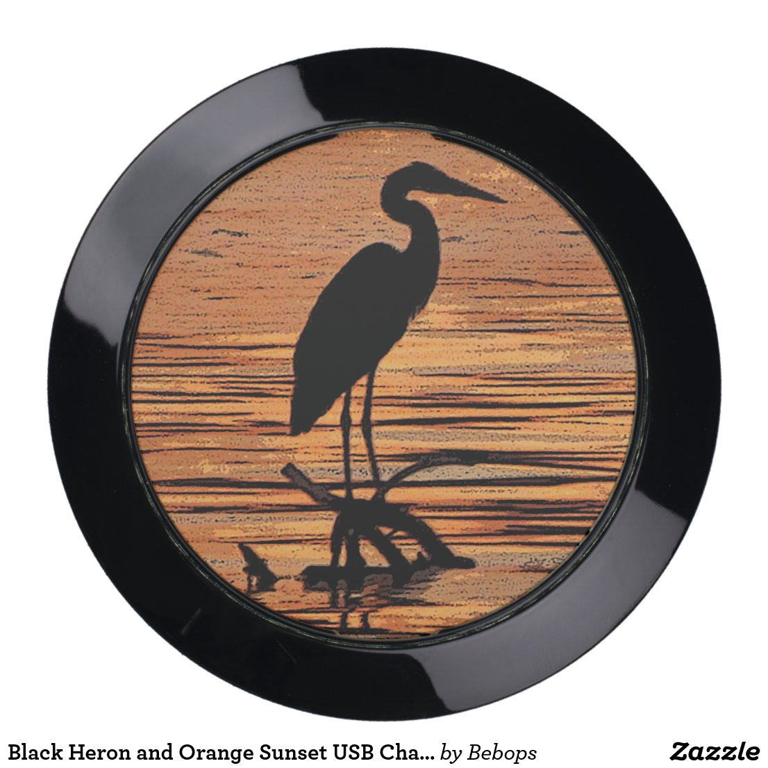 Black Heron and Orange Sunset USB Charging Station