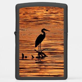 Black Heron Bird and Orange Sunset Zippo Lighter
