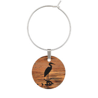 Black Heron Bird at Orange Sunset Wine Charm