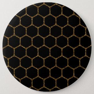 Black Hexagon Pattern in Gold Glitter Frame Pinback Button