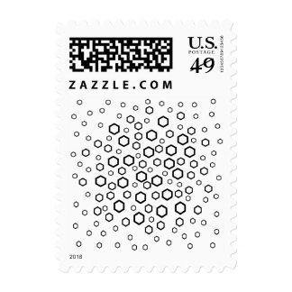 Black Hexagons. Pattern. Postage Stamps