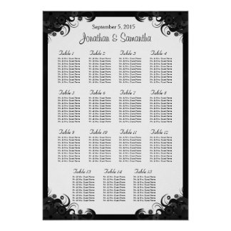 Black Hibiscus 15 Wedding Tables Seating Charts Posters