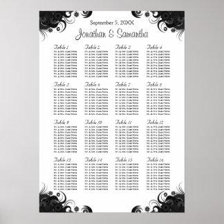 Black Hibiscus 16 Wedding Tables Seating Charts Print