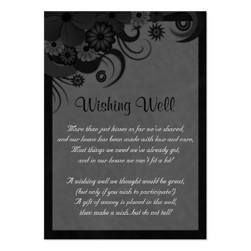 Hibiscus Floral Black Wedding Wishing Well Cards Large Business Cards Pack Of 100