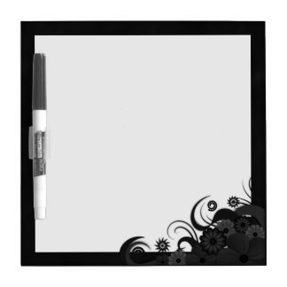 Black Hibiscus Floral Dry-Erase Board Small 8x8