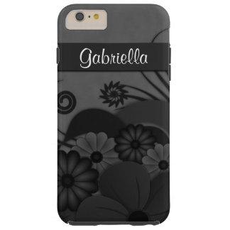 Black Hibiscus Floral Gothic iPhone 6 6S Plus Case Tough iPhone 6 Plus Case