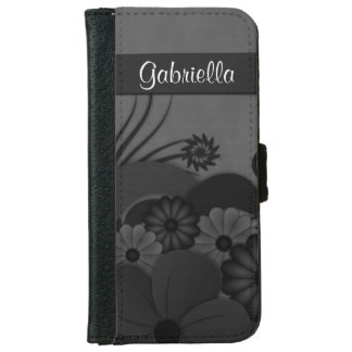 Black Hibiscus Floral Gothic iPhone 6 Wallet Case