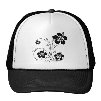 Black hibiscus floral swirl designs trucker hat