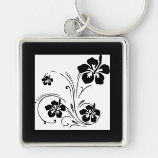 Black hibiscus floral swirl designs keychain
