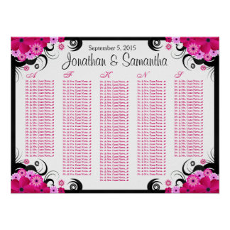 Black Hibiscus Floral Wedding Table Seating Charts Print