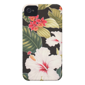 Black Hibiscus Hawaiian Aloha Shirt Retro iPhone 4 iPhone 4 Case-Mate Case