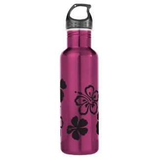 Black Hibiscus Hawaiian Flowers 24oz Water Bottle