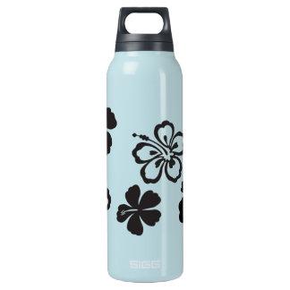 Black Hibiscus Hawaiian Flowers Insulated Water Bottle