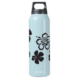 Black Hibiscus Hawaiian Flowers 16 Oz Insulated SIGG Thermos Water Bottle
