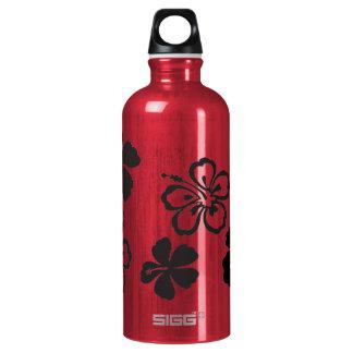 Black Hibiscus Hawaiian Flowers Water Bottle