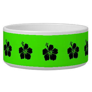 Black Hibiscus Neon Green Pet Food Bowls