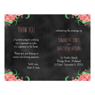 "Black Hibiscus Pink Floral Bi-Fold Wedding Program 8.5"" X 11"" Flyer"