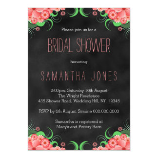 Black Hibiscus Pink Floral Bridal Shower Invites