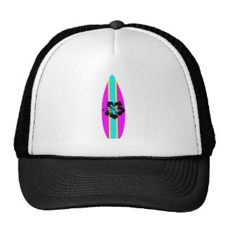 Black Hibiscus Pink Surfboard Trucker Hat