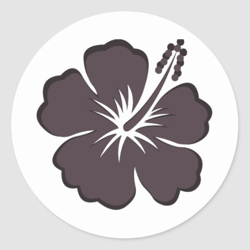 black hibiscus round stickers