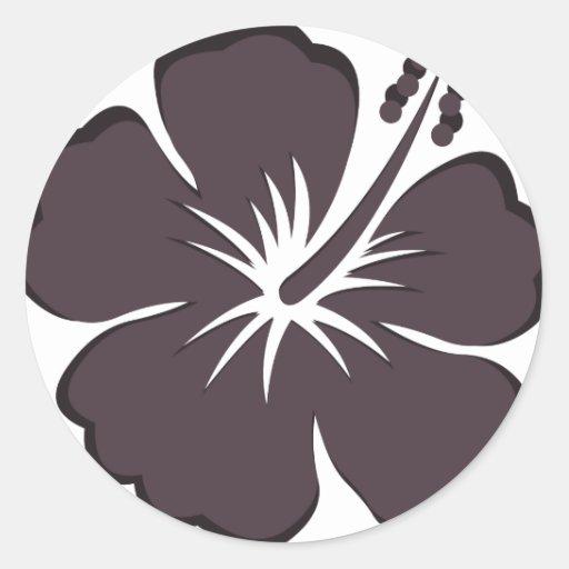 black hibiscus round sticker
