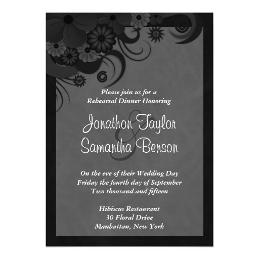 Black Hibiscus Wedding Rehearsal Dinner Invites